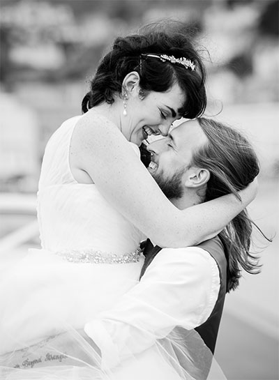 wedding couple embracing